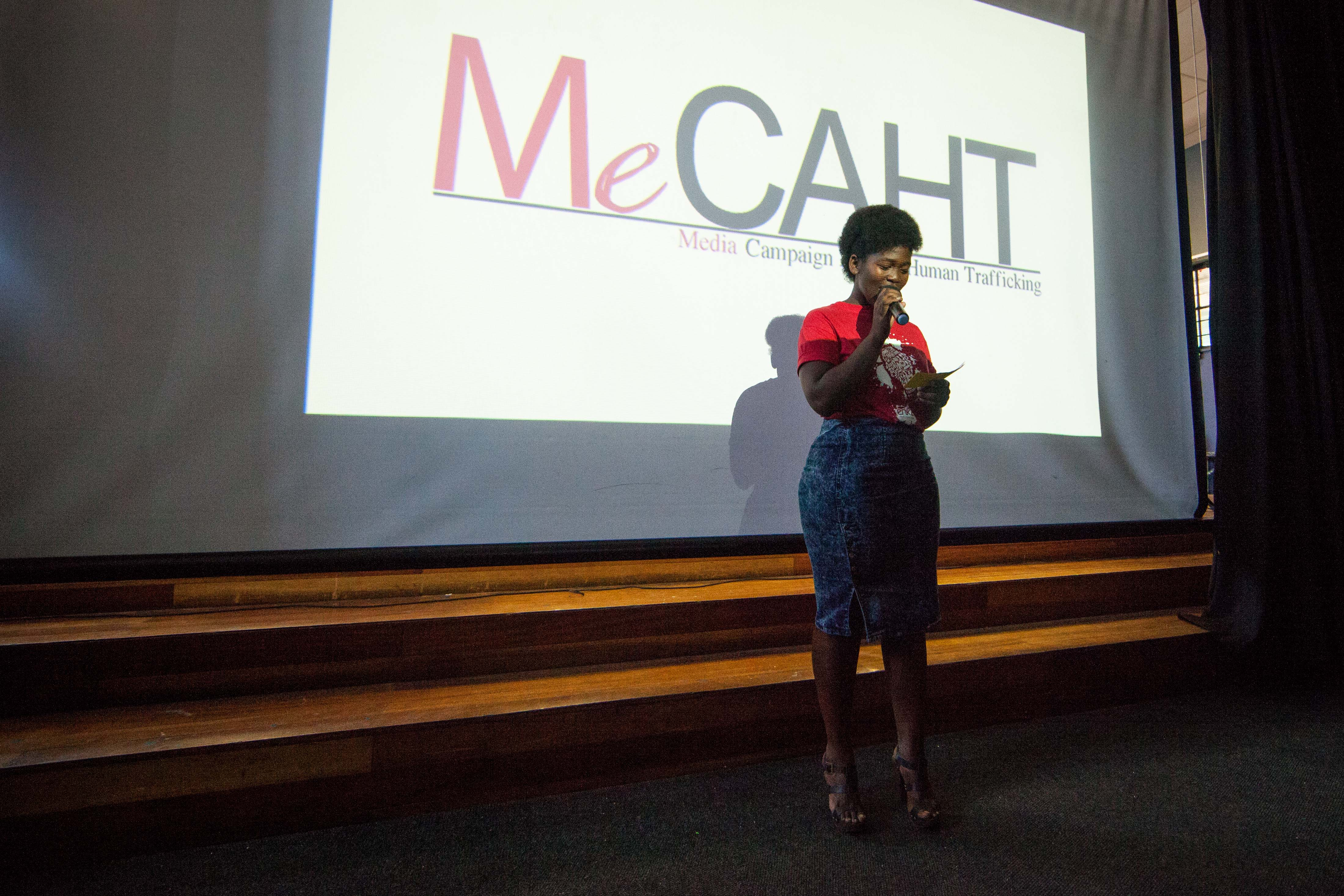 Dineo introduces Pam Zokufa, from the Media Campaign Against Human Trafficking (MeCAHT)