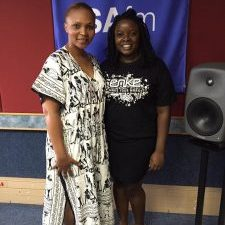 Picture of Rufaro at the SAfm Studios with Asanda Matsaunyane